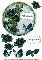 Peacock Wild Rose Sympathy 7in Circle Decoupage Topper