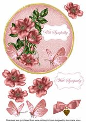 Pink Wild Rose Sympathy 7in Circle Decoupage Topper