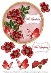 Red Wild Rose Sympathy 7in Circle Decoupage Topper