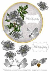Silver Wild Rose Sympathy 7in Circle Decoupage Topper