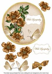 Vtea Wild Rose Sympathy 7in Circle Decoupage Topper