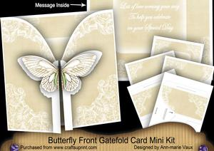 Cream Butterfly Special Day2 3D Gatefold Butterfly Mkit