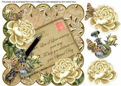 Cream Roses Special Day2 8in Scallop Decoupage Topper