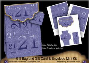 Blue Birthday 21 Gift Bag Mini Kit with Gift Card & Envelope