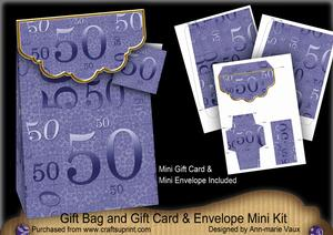 Blue Birthday 50 Gift Bag Mini Kit with Gift Card & Envelope