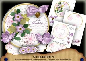 Lilac Fmk 50th Birthday Circle Easel Card Mini Kit