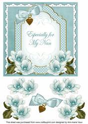 Teal Magnolia for My Nan Fancy 7in Decoupage Topper