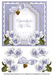 Blue Magnolia for My Nan Fancy 7in Decoupage Topper