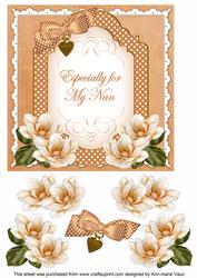 Borange Magnolia for My Nan Fancy 7in Decoupage Topper