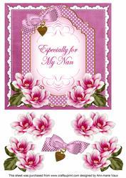 Cerise Magnolia for My Nan Fancy 7in Decoupage Topper