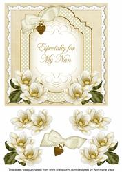 Cream Magnolia for My Nan Fancy 7in Decoupage Topper