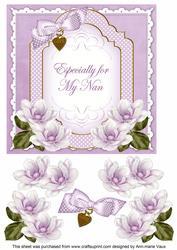 Lilac Magnolia for My Nan Fancy 7in Decoupage Topper