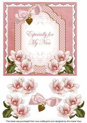 Pink Magnolia for My Nan Fancy 7in Decoupage Topper