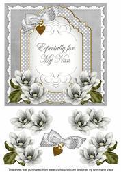 Silver Magnolia for My Nan Fancy 7in Decoupage Topper