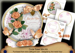 Peach Rose Just for You Circle Easel Card Mini Kit