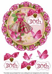 Cerise Floral Dress 30th 8in Doily Decoupage Topper