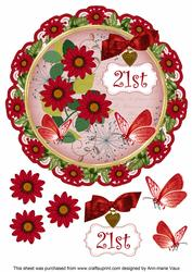 Red Daisy 21st 8in Doily Decoupage Topper