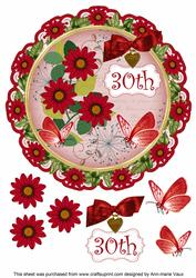 Red Daisy 30th 8in Doily Decoupage Topper