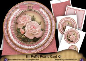 Pink Roses1 Happy Easter 8inch Round Ruffle Mini Card Kit