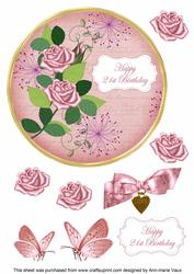 Pink Rose 21st Birthday 7in Circle Decoupage Topper