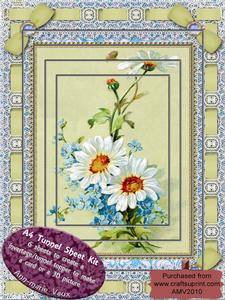 Blue Daisies Lace Eyelet A4 Tunnel Kit
