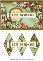Vintage Mothers Day Card Diamond Panel