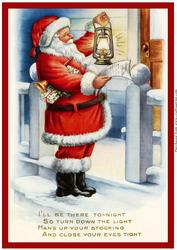 Vintage Christmas Santa with Lamp A4