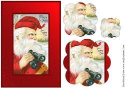 Vintage Santa with Binoculars Scalloped Pyramid