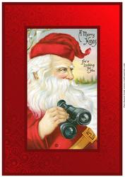 Vintage Santa with Binoculars A4