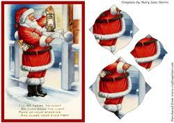 Vintage Christmas Santa with Lamp Splendid Pyramid