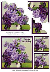 Vintage Purple Flowers Shell Edged Corner Stacker
