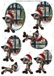 Christmas Kitties 2, Oval Decostacker