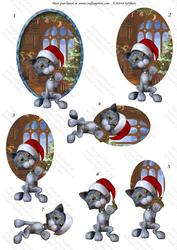 Christmas Kitties 4, Oval Decostacker