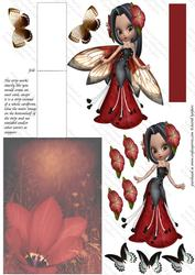 Flower Fairy 1, Shaped Easelcard