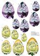 Decorated Eggs Pyramage, Pretty Flowers on Purple and Yellow