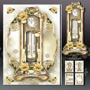 Christmas Clock with Poinssetias Card Kit