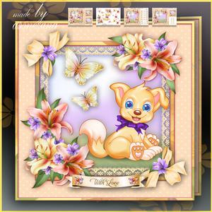 Spring Puppy with Lilies Flowers Card Mini Kit