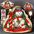 Christmas Snowman with Red Poinsettias and Gifts
