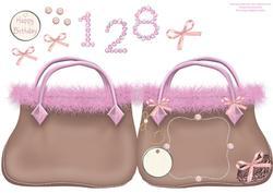 Bag Shaped Card Brown & Pink