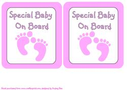 Car Sign Special Baby on Board Pink Feet