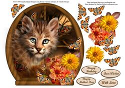 Wild Baby in Round Top Window with Butterfly & Flower Decoup
