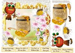 Daisy Wild Flower Honey Owl Card Topper & Decoupage
