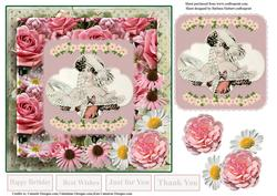 Coneflowers & Daisys Vintage Lady Card Topper & Decoupage