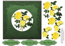 Vintage Yellow Roses Flower's Topper & Decoupage