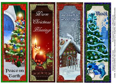 Clean image for printable christmas bookmarks