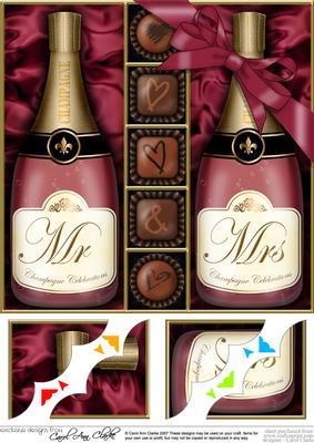 8 x 8 Mr & Mrs Champers N Chocs Scalloped Corner Topper