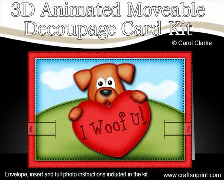 3D Rusty the Dogs Heart Animated Moveable Decoupage Card Kit