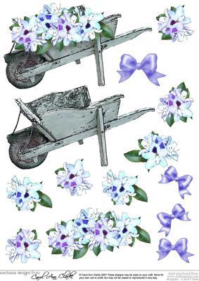 Flower Filled Wheelbarrow 3D Decoupage Sheet