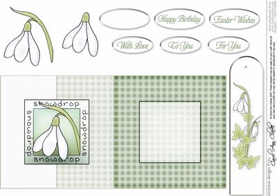 Snowdrop Fold Back Card with Decoupage
