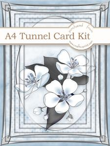 A4 Apple Blossom in Powder Blue Tunnel Card Kit